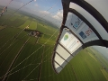Bridle system and kite photographed during flight from left wing typ